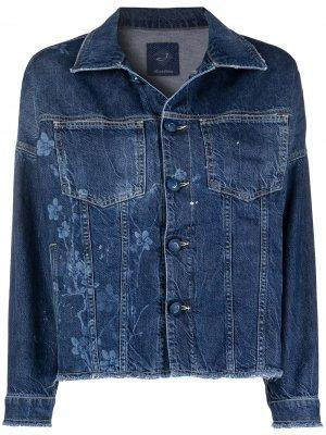 Джинсовая куртка с цветочным принтом Jacob Cohen. Цвет: синий