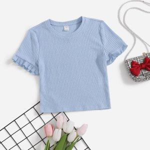 Трикотажная футболка для девочек-подростков SHEIN. Цвет: нежно-голубой
