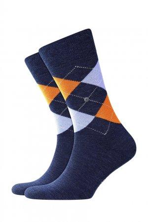 Трикотажные носки с яркими узорами-ромбами Burlington. Цвет: голубой