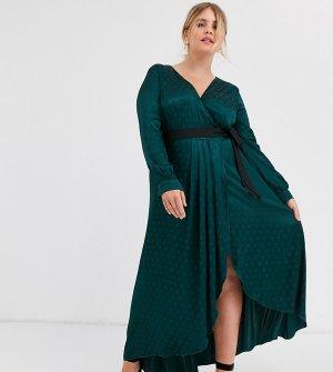 Зеленое атласное платье с запахом и контрастным поясом -Зеленый Little Mistress Plus