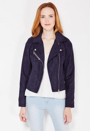 Куртка кожаная Jacqueline de Yong. Цвет: синий