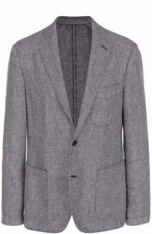 Однобортный льняной пиджак 120% Lino. Цвет: темно-синий