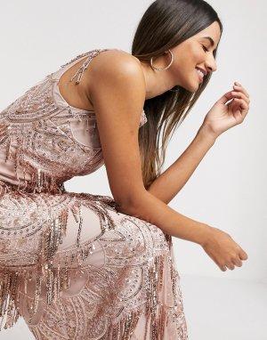 Розовое платье макси с пайетками и кружевом -Розовый Goddiva