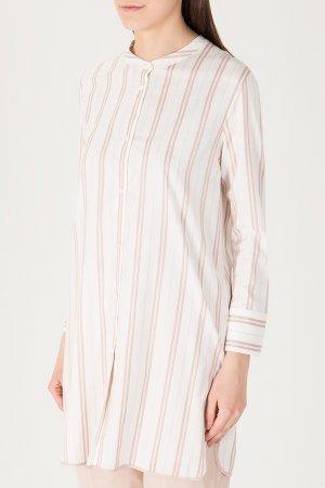 Удлиненная блуза в полоску BILANCIONI. Цвет: белый