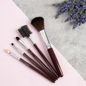 Набор кистей для макияжа, 5 предметов, цвет тёмно-коричневый Queen fair