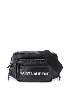 Дутая поясная сумка с логотипом Saint Laurent. Цвет: черный