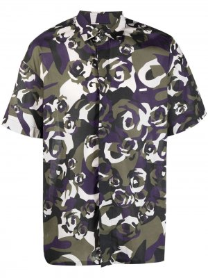 Рубашка с камуфляжным принтом Les Hommes. Цвет: фиолетовый