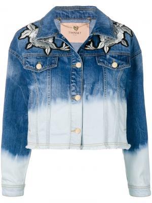 Джинсовая куртка с эффектом потертости Twin-Set. Цвет: синий