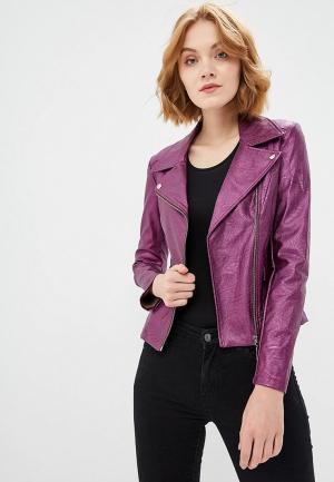 Куртка кожаная Rinascimento. Цвет: фиолетовый