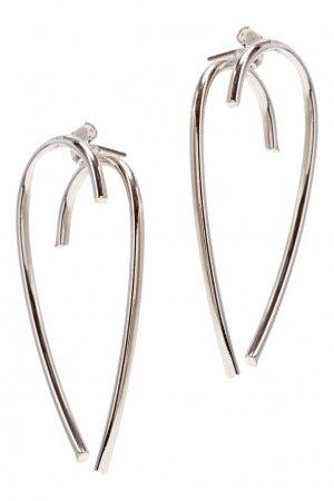 Серебристые серьги-завитки Aqua. Цвет: серебряный