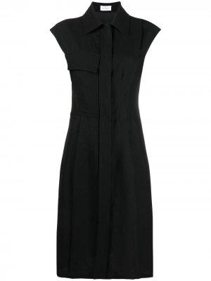 Платье-рубашка с рукавами кап Salvatore Ferragamo. Цвет: черный