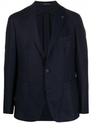 Пиджак узкого кроя Tagliatore. Цвет: синий