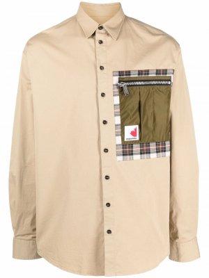 Куртка-рубашка с контрастными карманами Dsquared2. Цвет: нейтральные цвета