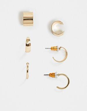 Комплект из 3 золотистых серег-колец и каффов -Золотой ASOS DESIGN