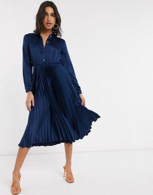 Темно-синее платье-рубашка миди с плиссированной юбкой -Темно-синий Closet London