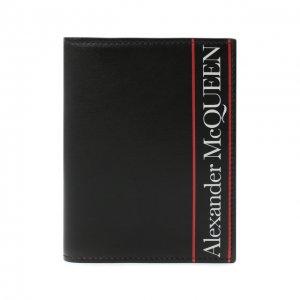 Кожаная обложка для паспорта Alexander McQueen. Цвет: чёрный