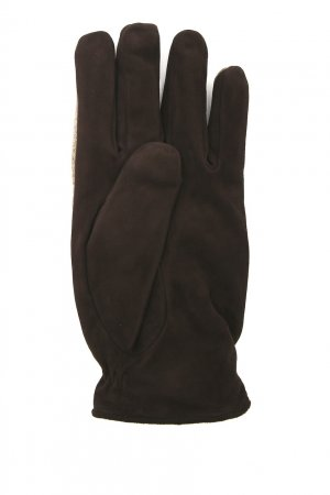 Коричневые перчатки из шерсти и замши Lardini. Цвет: коричневый
