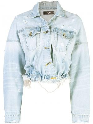 Укороченная джинсовая куртка Amiri. Цвет: синий