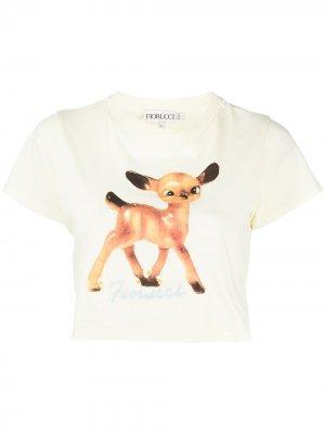 Укороченная футболка с принтом Fiorucci. Цвет: нейтральные цвета