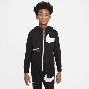 Флисовая худи с молнией во всю длину для мальчиков школьного возраста Sportswear Swoosh - Черный Nike