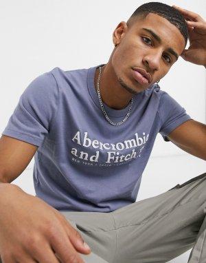 Голубая футболка с логотипом -Голубой Abercrombie & Fitch