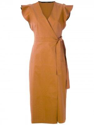 Платье миди Dalia с оборками Eva. Цвет: коричневый