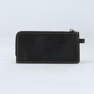 Ключница, длина 14 см, отдел на молнии, металлическое кольцо, цвет чёрный TEXTURA