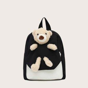 Для девочек Рюкзак двухцветный с куклой SHEIN. Цвет: чёрный