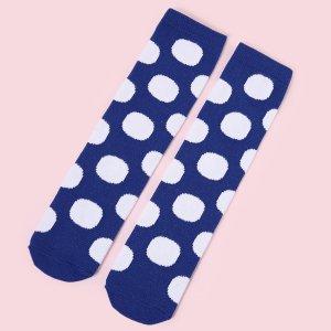 Для девочек Носки до середины голени в горошек SHEIN. Цвет: синий и белый