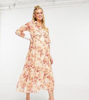 Платье-рубашка с воротником, завязками и заниженной спинкой из розового материала цветочным принтом -Розовый цвет Hope & Ivy Maternity