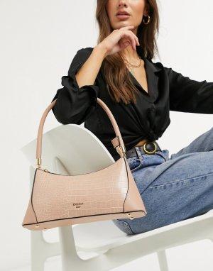 Бежевая сумка на плечо с отделкой в виде крокодиловой кожи Delight-Бежевый Dune