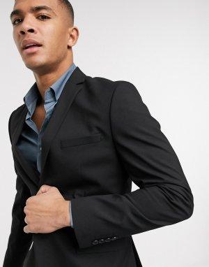 Черный эластичный пиджак узкого кроя -Черный цвет Selected Homme