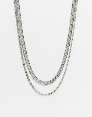 Двухрядное ожерелье-цепочка Burton-Серебристый Burton Menswear