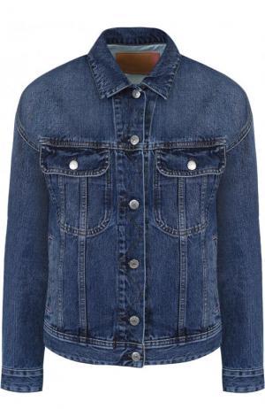 Джинсовая куртка свободного кроя с потертостями Acne Studios. Цвет: голубой