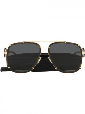 Солнцезащитные очки-авиаторы с декором Medusa Versace Eyewear. Цвет: коричневый