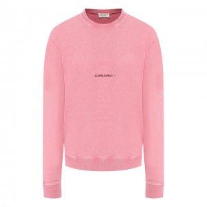 Хлопковый пуловер с логотипом бренда Saint Laurent. Цвет: розовый