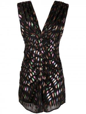 Короткое платье с V-образным вырезом и эффектом металлик IRO. Цвет: черный