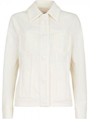 Джинсовая куртка на пуговицах Fendi. Цвет: белый