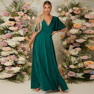 Вечернее платье с рукавами-воланами открытой спиной и узлом высоким разрезом SHEIN. Цвет: темно-зеленый