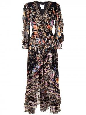 Платье макси асимметричного кроя с цветочным принтом Camilla. Цвет: черный