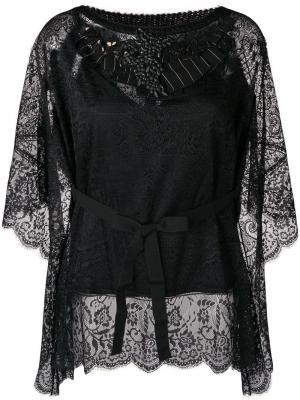 Кружевная блузка с украшением из камней Antonio Marras. Цвет: черный