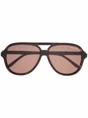 Солнцезащитные очки в круглой оправе Alexander McQueen Eyewear. Цвет: коричневый