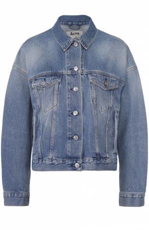 Джинсовая куртка свободного кроя со спущенным рукавом Acne Studios. Цвет: голубой