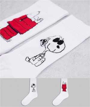 Набор из 2 пар белых спортивных носков с принтом Снупи -Белый ASOS DESIGN