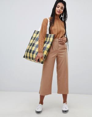 Бежевые фактурные укороченные брюки с широкими штанинами -Бежевый Monki