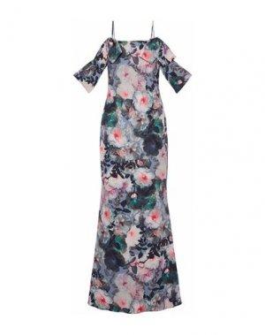 Длинное платье BADGLEY MISCHKA. Цвет: грифельно-синий