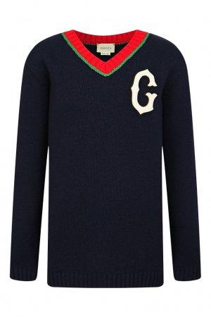 Шерстяной пуловер с отделкой Gucci Kids. Цвет: синий