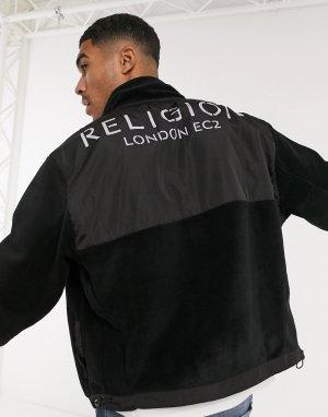 Черная флисовая куртка на молнии -Черный Religion