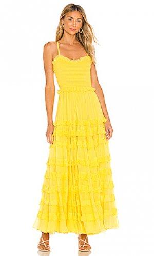 Макси платье mimi MAJORELLE. Цвет: желтый