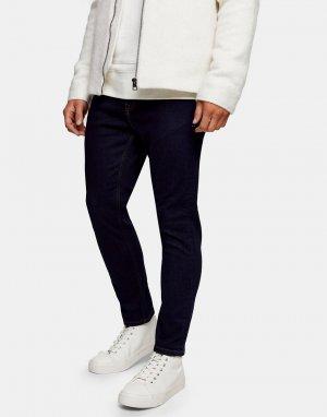 Эластичные зауженные джинсы из необработанного денима -Голубой Topman
